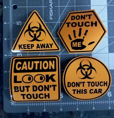 """2 look but dont touch window glass decals 4/""""x1.75/"""" vintage chevy /& impala"""