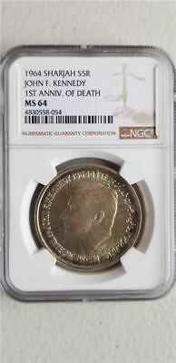 Sharjah 5 Rupees 1964 1st Anniversary of Death John F Kennedy NGC MS 63