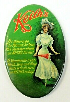 circa 1910 KEITH'S VAUDEVILLE THEATERS full color celluloid oval pocket mirror ^