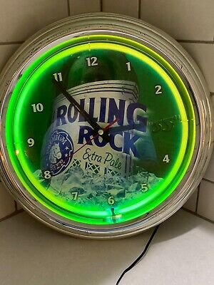 ROLLING ROCK BEER Bar Man Cave Advertising Green Neon Wall Clock Sign