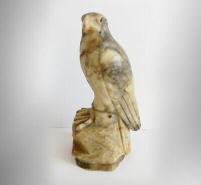 Large marble figurine of falcon or hawk with glass eyes - solid