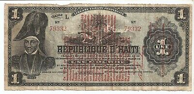 Haiti 1 gourde 1913 with overprint 1919