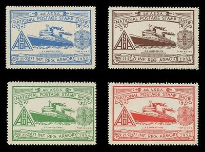 1952 Asda Stamp Show Poster Stamps, Perforated - Set Of 4
