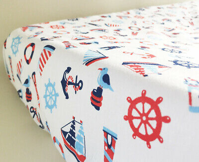 GOOSEBERRY Fitted Change Table Mat Pad Cover Cotton White Nautical