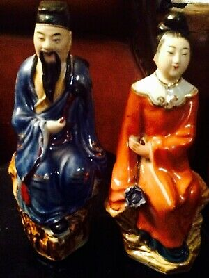 Vintage Chinese Figurines Porcelain Statues Man Womn
