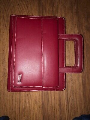 Day One 1 Red Leather 7 Ring Planner Franklin Covey Wallet Organizer Handle 4155
