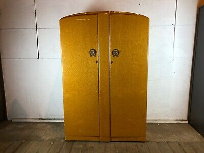 Vintage 1970's Cream Wardrobe with Mirrored Doors