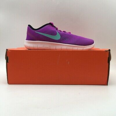 Nike Girls Free Run Running Shoes Purple Lace Up Low Top 833993-500 7 Y New