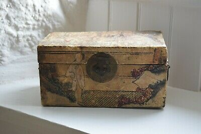 Chinese Painted Vellum Jewellery Storage Box, Hand Painted Pigskin Box