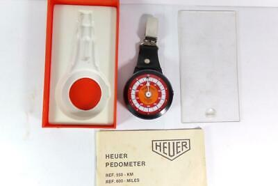 Vintage Heuer Pedometer Ref. 600 Miles Original Box & Instructions Swiss Euc