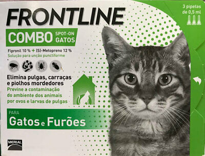 Frontline¹Combo traitement tiques puces flea treatment chat furet 3 pipettes