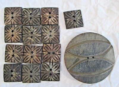 "MIXED LOT of Vintage HAND CARVED OOAK WOOD BUTTONS 13 Square .75"" & One 2"" Round"