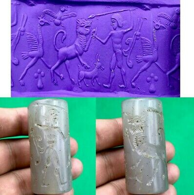 Sassanian Ancient historic period Man fight Tiger old agate Stone CylinderSeal