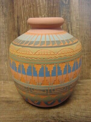 Native American Indian Hand Etched Jar by Mirelle Gilmore