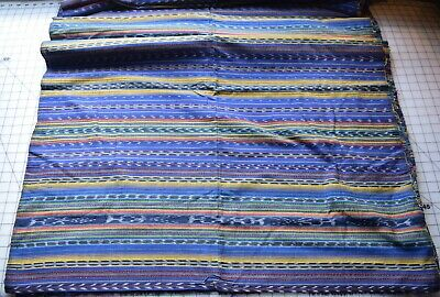 KT8 5 yds Hand woven fabric from Central America, multicolored stripes , blue