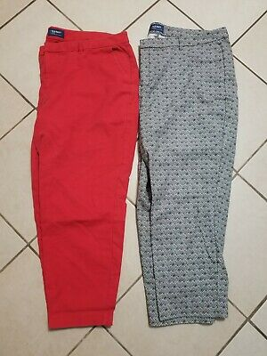 LOT OF TWO Old Navy Harper Pants Womens 20 Black & White Print NWOT Red Crops