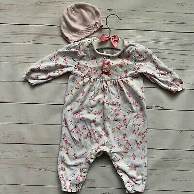 Baby Girls 0-3 Months - Babygrow & Hat MOTHERCARE White Pink Floral Knit Cotton