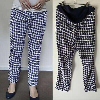 Asos Maternity sz UK 12 Blue & White Casual Pants NEW w Tags