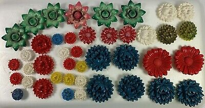 40+ Vintage Metal & Plastic Drapery Tie Backs Floral Curtain Push Pins