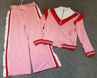 Girls River Island 2 Piece Outfit,  Pink/Red Silky, Frilled Tracksuit, 11-12 Yrs