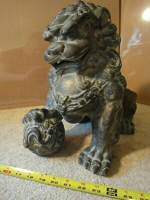 "Chinese Male Foo Dog, Guardian Lion, Ming era forbidden city 13"" replica statue."