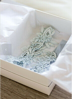 Daphne Keepsake and Toss Blue Lace Wedding Garter Set by Tania Marters