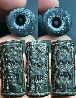 Ancient  Near Eastern kings fight Old Black Stone Cylinder Seal Bead intaglio