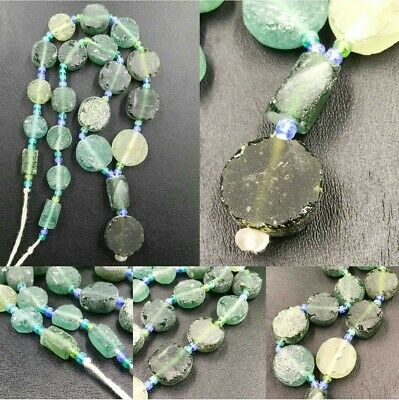 Ancient Unique Rare Old Roman Glass Beads Circal Shape Beads Strand Necklace