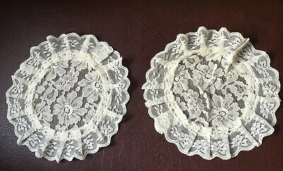 "Pair Vintage Cream Lace Frilled Round Doilies Size 7"" VGC"