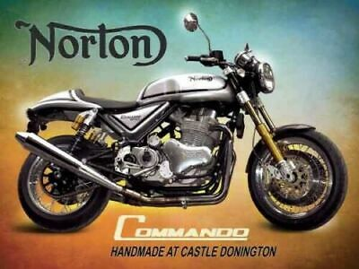 NORTON CAFE RACER NEVER NEVER GIVE UP YOUR..METAL SIGN.BRITISH BIKE A3