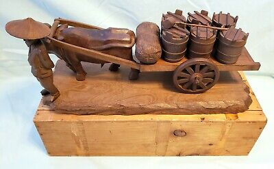 Vintage Antique Large Japanese Wood Carved Ox Cart With Man& Water Barrels