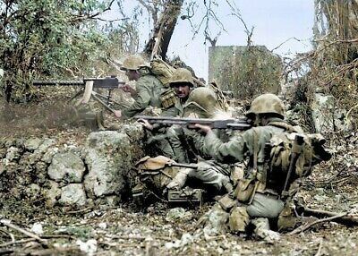 US Marines - Pacific Conflict 1944 Colorized  WW2  WWII Print 4x6 #1035