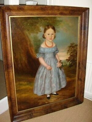 Large 18th Century Georgian Period Antique Oil Portrait Painting Of Young Girl