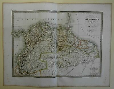 Columbia and the Guyanas Northern South America 1829 Lapie large folio map