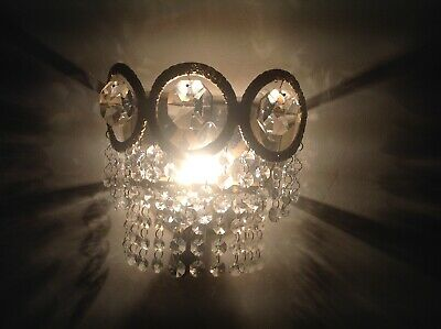 Pair of Vintage Italian Crystal Chandelier bronze & mirrored backed Wall Lights