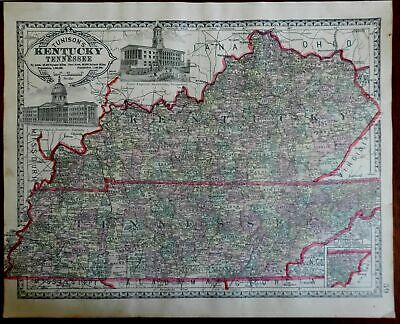 Tennessee & Kentucky County Map Capitol Buildings 1892 Tunison map
