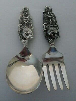 Antique Weidlich Sterling Silver Baby's First Spoon & Fork (Kitty) - Precious