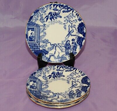 Three [3] Royal Crown Derby BLUE MIKADO 6 1/4 Bread Side Dessert Salad Plates