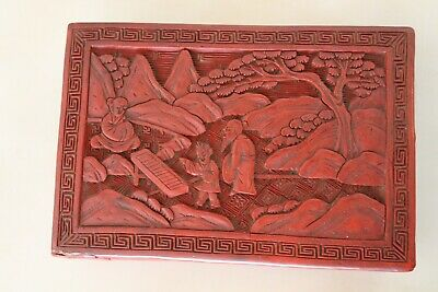 """Old Antique Chinese Red Lacquer Cinnabar Box 5.5"""""""