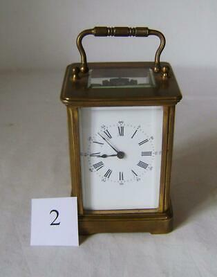 Antique French Brass Carriage Clock:in Working Order with key: C.1900s