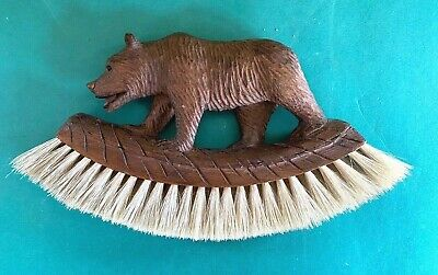 Antique Adirondack Black Forest Miniature Carved Bear Brush Great Detail