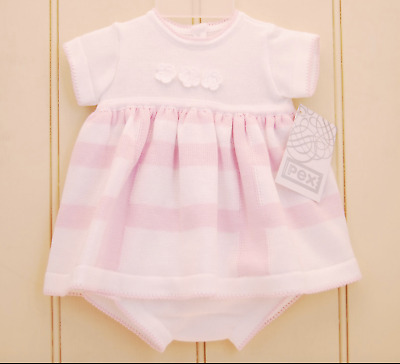Baby girls Pex Pink & White Knitted Gala Dress & Pants 6-12m Summer Holiday