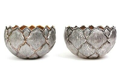 Antique Pair of Silver Plated Flower Embossed Bowls Circa 1930