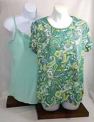 Charter Club Womens Top Green Paisley Short Sleeve And Mint Camisole Size XL