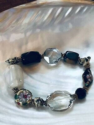 Estate Black & Clear Faceted Smooth White Barrel Tigereye & Asian Cloisonne Bead