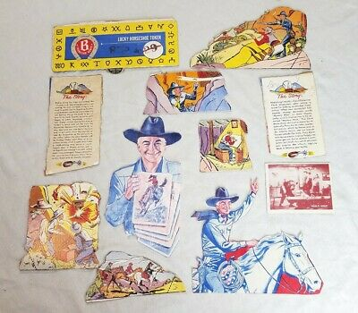 1954 HOPALONG CASSIDY Burry's Cookies Box Standees Post Cereal pictures & Card