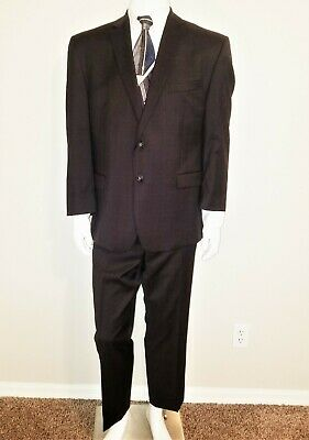 Calvin Klein 44 S Men's 2 Piece 2 Button Suit Dark Brown Plaid 100% Wool