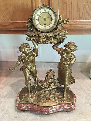 LOUIS FRANCOIS MOREAU HUGE French Figural MANTLE  Clock CIRCA  1890's RARE