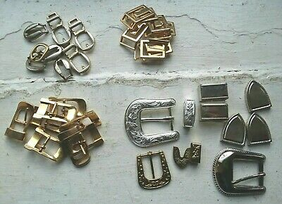 Vintage Lot Buckles Accessories Supplies Belt Making, Metal, Some Solid Brass,