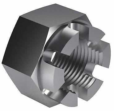 100x Hexagon slotted and castle nut DIN 935-1 Steel Plain 5 M12